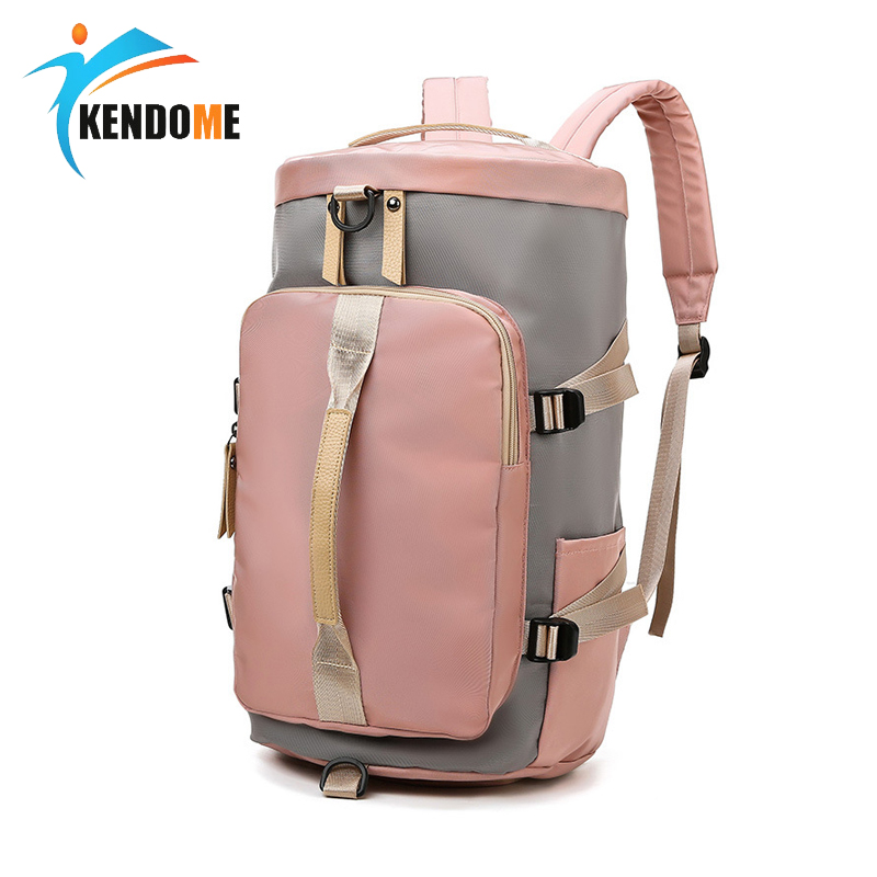 Pink Sports Fitness Bags For Women 2019 Multi-functional One Shoulder Bag Women Travel Backpack Large-capacity Oxford Handbag