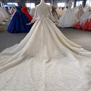Image 2 - HTL272 Sparkly Wedding Dress 2020 With Popular Metallic Line High Neck Appliques Handmade Beading Ball Gown