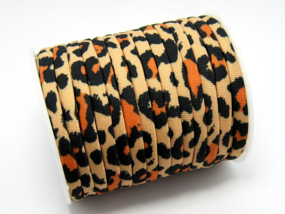 Leopard Lycra Cord 5mm Elastic Lycra Cord Stitched Lycra Strips