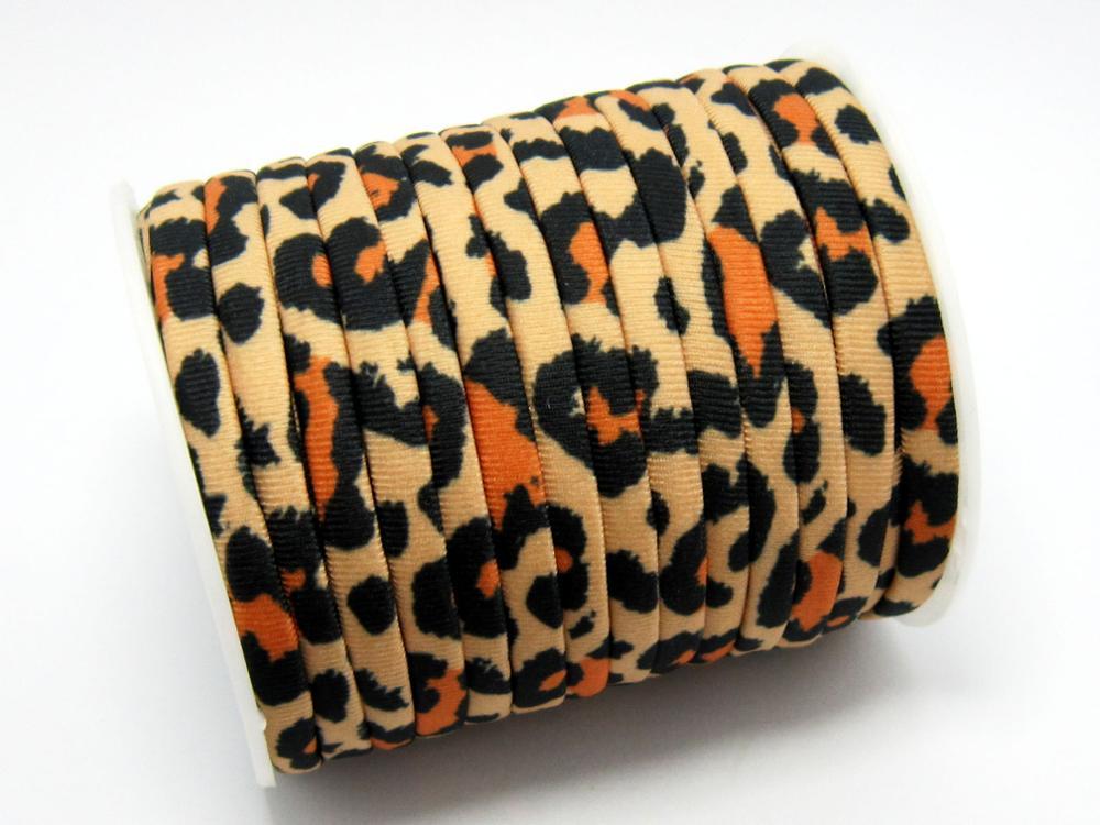 Leopard Lycra Cord 5mm Elastic Lycra Cord Stitched Lycra Strips