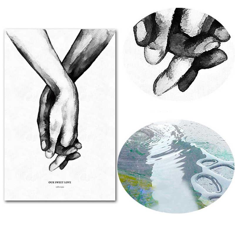 Nordic hand in hand Süße Liebe Wand Kunst Leinwand Poster Minimalistischen Druck LIEBE Zitate Malerei Bild für Wohnzimmer Dekor