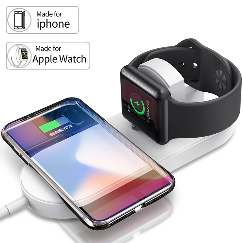 2 <font><b>in</b></font> <font><b>1</b></font> Schnelle Drahtlose Ladegerät Pad für Applw Uhr iWatch Serie <font><b>1</b></font> 2 <font><b>3</b></font> Adapter Qi Drahtlose Lade <font><b>Dock</b></font> für <font><b>iPhone</b></font> 11 Pro Xs XR Max image