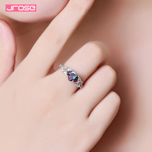 Jrose Fashion Jewelry 925 Silver Rings for Women Colored Stone Wedding Engagement Ring Free Shipping manbu hot blue star enamel rings for women 925 sterling silver engagement wedding ring fashion gifts rings jewelry free shipping