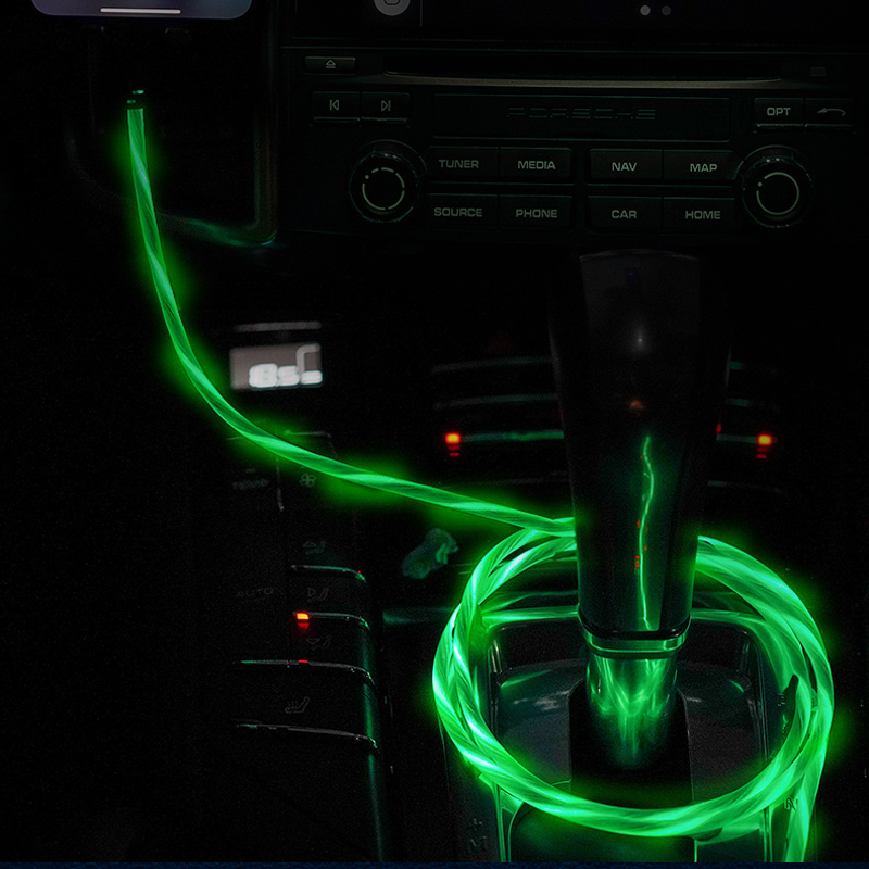 Car LED Glow Flowing Data USB Charger Charging Cable For Lada Granta Vaz Kalina Priora Niva Samara 2 2110 Largus 2109 2114 2112