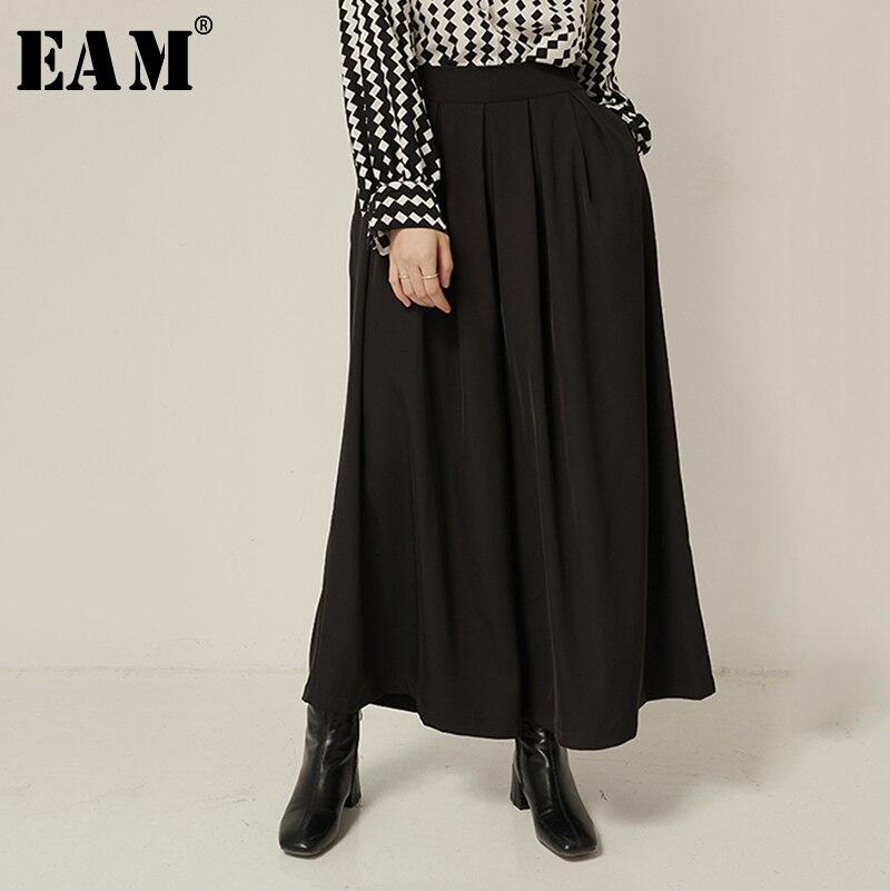 [EAM] High Elastic Waist Black Leisure Long Wide Leg Trousers New Loose Fit Pants Women Fashion Tide Spring Autumn 2020 1S336