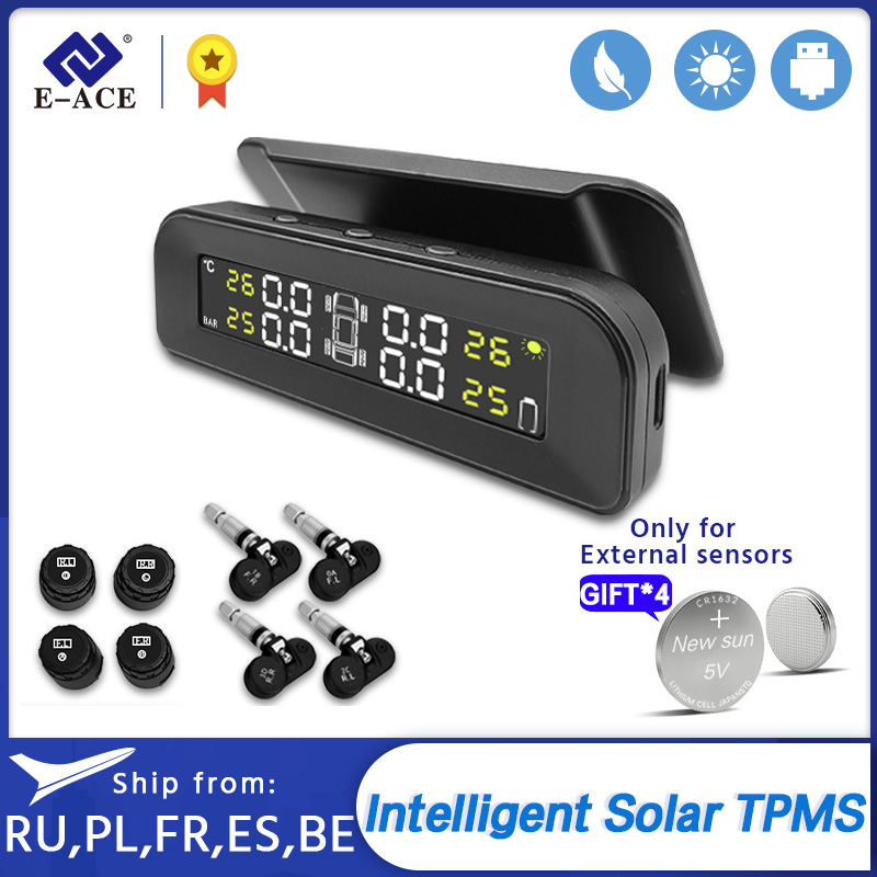 E-ACE TPMS Car Tire Pressure Alarm Monitor System Display Intelligent Temperature Warning with 4 Sensors Solar Power Charging