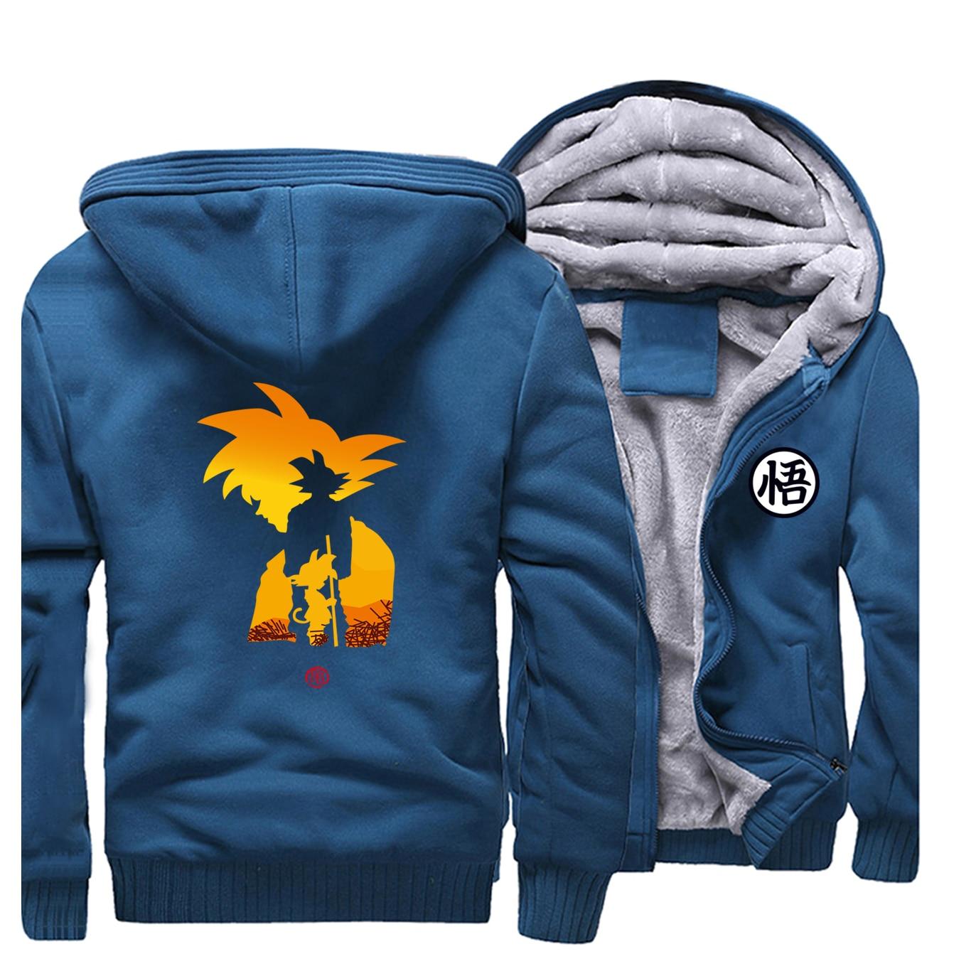 Mens Thicken Hoodies Raglan Dragon Ball Z Goku Sweatshirt Winter Warm Coat DragonBall Z Harajuku clothing Japan Anime Men Hoodie