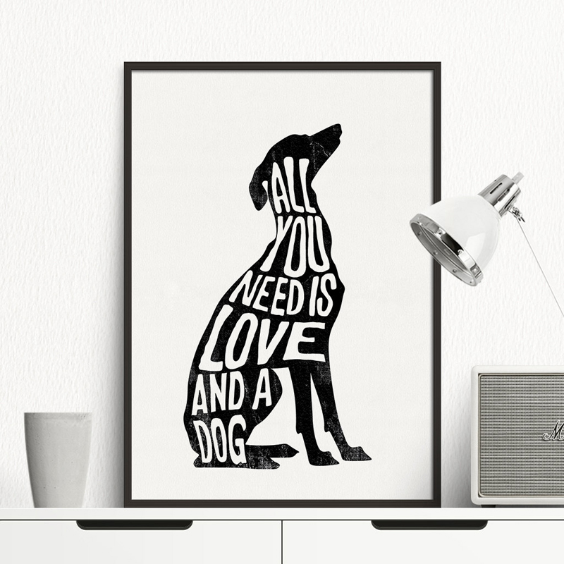 Minimalist Abstract Dog Poster Italian Greyhound Wall Art Print Canvas Painting Deer Nordic Wall pictures living room Home Decor image