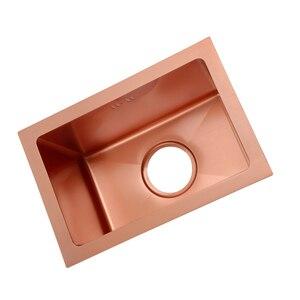Раковина из нержавеющей стали розового золота, набор кухонных раковин, маленькая раковина, балкон, бытовая маленькая раковина, один слот, ку...
