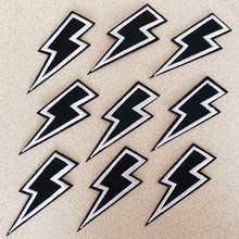 9 Stks/partij Mode Patches Stickers Black Lightning Diy Patch Stof Applicaties Geborduurde Ijzer Op Kleding Badge Borduurwerk