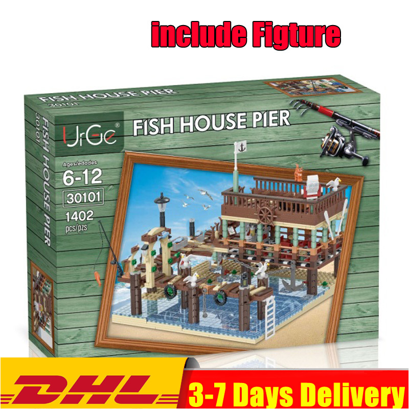 IN STOCK DHL 30101 1402PCS MOC Old Fishing House Pier Set  Building Blocks Bricks Toys Model Compatible 16050 83028  21310