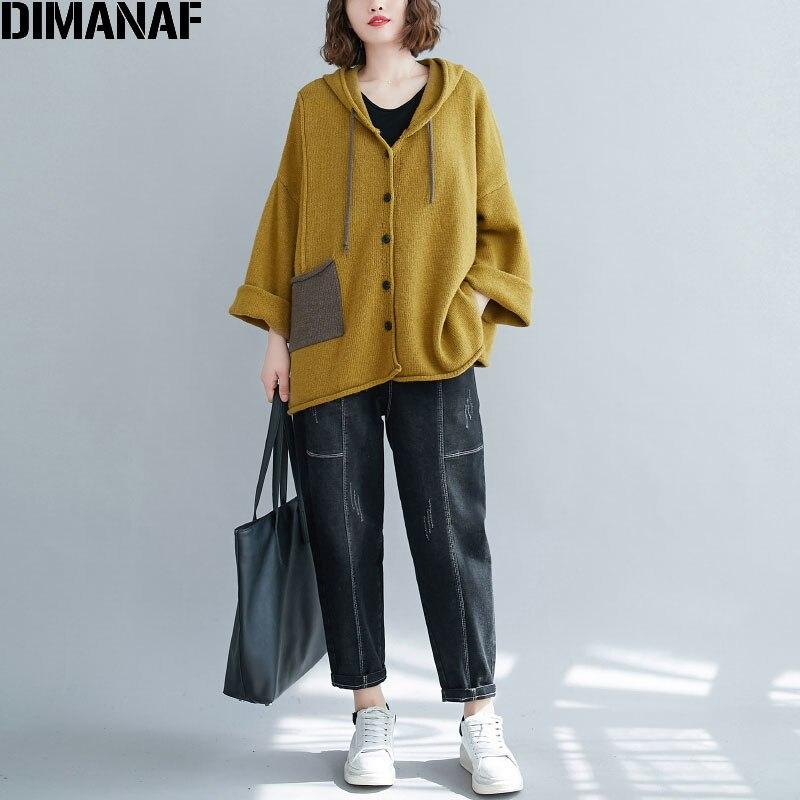 DIMANAF 2020 Plus Size Women Hoodies Sweatshirt Knitting Cardigan Casual Style Patchwork Autumn Loose Batwing Sleeve Sweatshirt