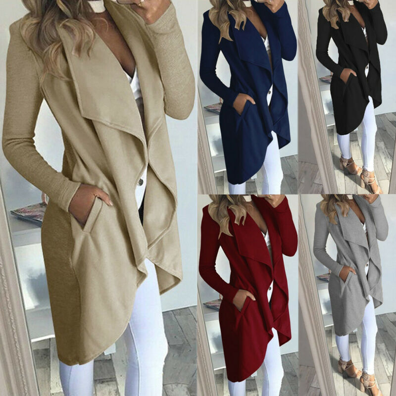 2020 Womens Long Sleeve Solid Coat Ladies Cardigan Overcoat Jumper Plus Size Trench