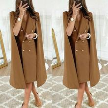 S-XL, Длинный блейзер, Женская куртка, костюмы с плащом размера плюс, ветровка, пончо, Тренч, шаль, накидка, плащ-манто, ветровка с разрезом, верхняя одежда