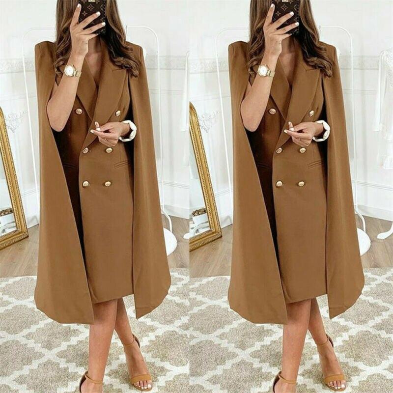 S-XL Long Blazer Women Jacket Cloak Suits Plus Size Wind Coat Poncho Trench Shawl Wrap Manteau Cape Windbreaker Slit Outerwear