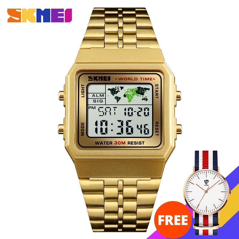 Image 2 - SKMEI Top Luxury Fashion Sport Watch Men Alarm Clock 3Bar Waterproof Stainless Steel Strap Digital Watches reloj hombre 1338Digital Watches   -