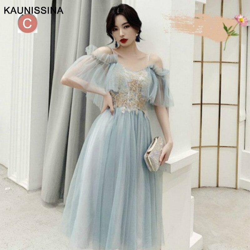 KAUNISSINA Elegant Cocktail Dress Blue Party Gown Tulle Appliques Graduation Dresses Celebrity Prom Robe Real Photos