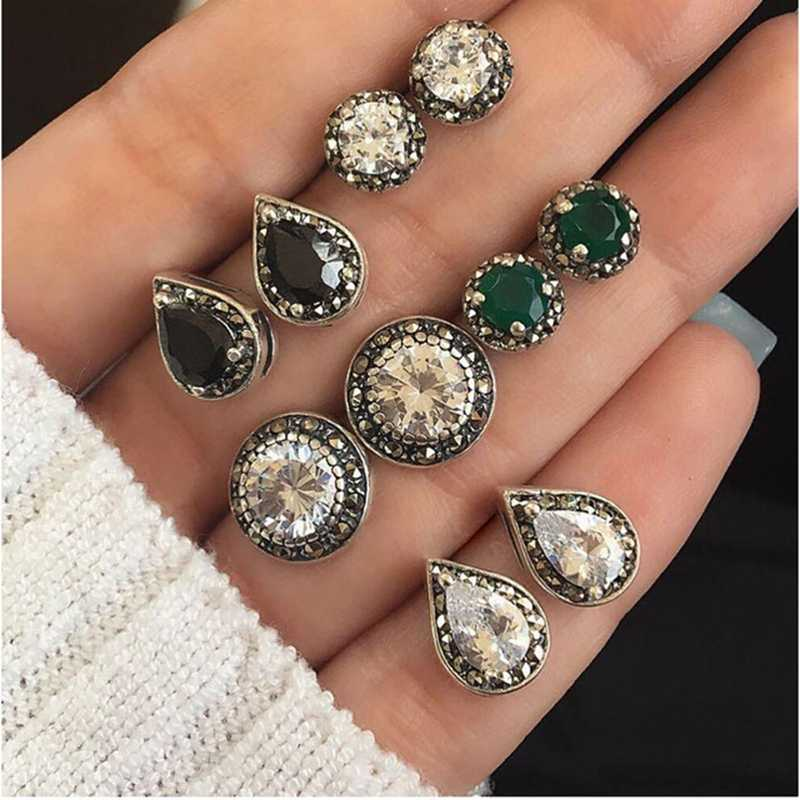 Fashion Small Stud Earrngs Set For women Vintage Boho Crystal Stone Stud Earrings Set Female Party Jewelry Gifts