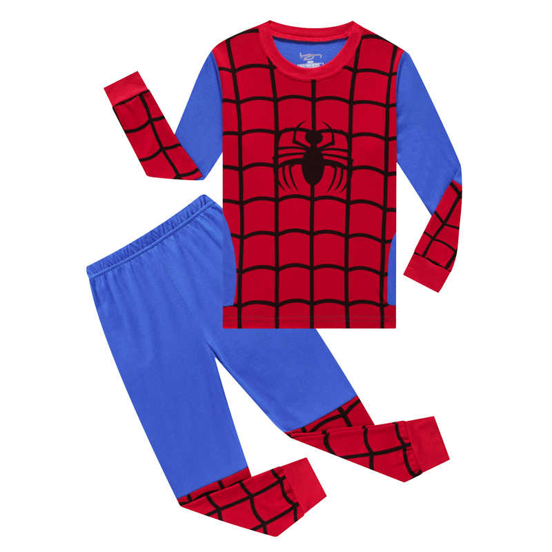 Nuevos niños mickey SpiderMan superman pijama de Batman bebé niñas niños ropa pijamas de dibujos animados de manga larga Camiseta + Pantalones 2 uds conjuntos