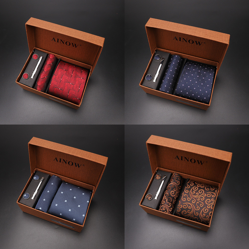 2020 New Men's Tie Sets Blue Red Silk Necktie Pocket Square Clip Cufflinks 4 Piece Set Suit Accessories Without Gift Box D001