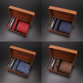 2020 New Men's Tie Sets Blue Red Silk Necktie Pocket Square Clip Cufflinks 4 Piece Set Suit Accessories Without Gift Box D001