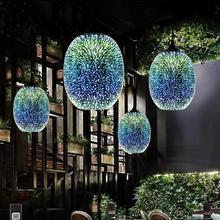 Современный 3D красочный скандинавский звездное небо подвесной стеклянный абажур подвесной светильник E27 Светодиодный светильник для кухни ресторана гостиной