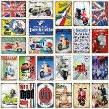 Los Mods Metal estaño Signs italiano lambreta Scooters Vespa Vintage placa de pared garaje tienda hogar habitación decoración motocicleta cartel