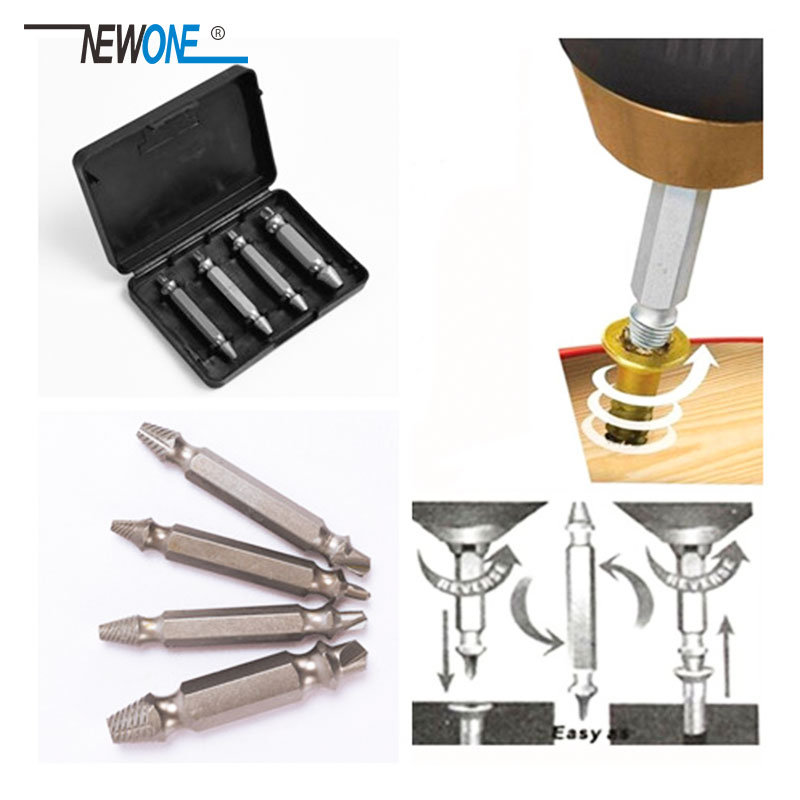4pcs/set Double Side Drill Out Damaged Screw Extractor Out Remover Handymen Broken Bolt Stud Removal Tool Kit In Case