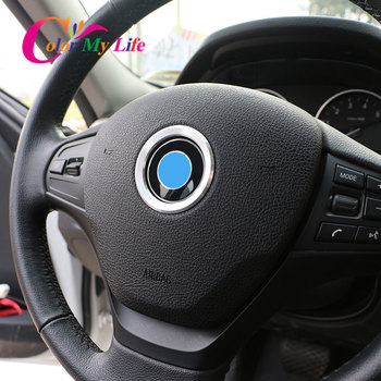 Color My Life Car Styling Steering Wheel Decoration Trim Sticker Case for BMW E39 E36 E60 E90 E34 E46 Aluminium Accessories image