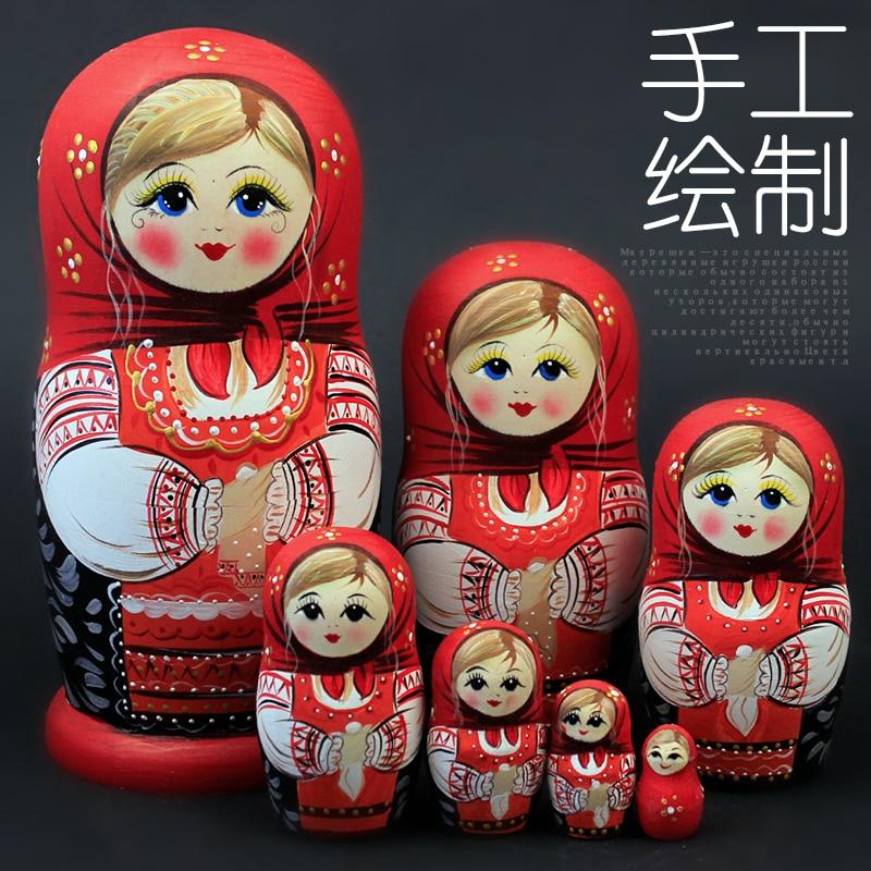7 слоев/набор, деревянные русские куклы, гнездящаяся Девичья кукла, Красивая ручная работа, Matrioska русская детская игрушка, подарок 20 см