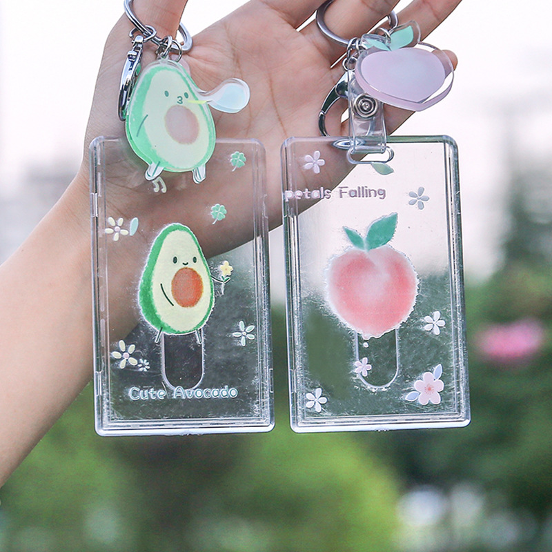 L0029 Creative Avocado Card Holder Hipster Students Lanyard School Card Protective Case Acrylic Certificate Holder Card Holder