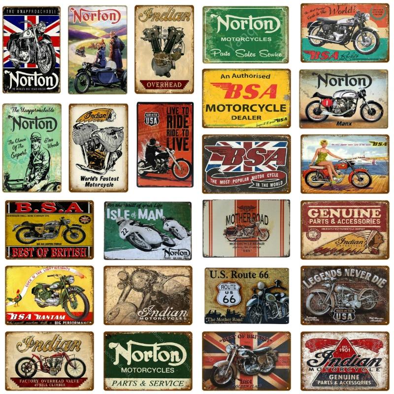 Металлическая пластина для мотоциклов BSA в стиле ретро, индийские жестяные знаки в стиле Нортона, декор для гаража, клуба, паба, бара, настенн...