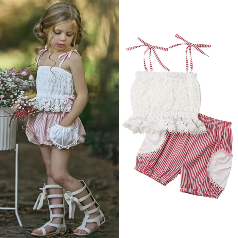 Toddler Kids Baby Girl Clothes Strap Sleeveless Vest Tops Stripe Shorts 2PCS Outfits Summer Girls Clothes