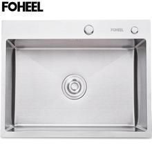 FOHEEL สแตนเลสอ่างล้างจานช่องใส่จานอ่างล้างหน้าท่อระบายน้ำตะกร้าและท่อระบายน้ำ PIP รูปสี่เหลี่ยมผืนผ้า