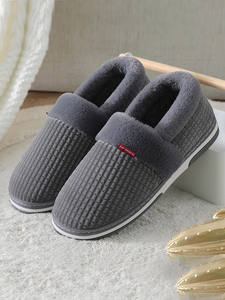 Home-Slippers Short Couple Indoor Shoes Plush Furry Male Winter Men for Man Bedroom Soft