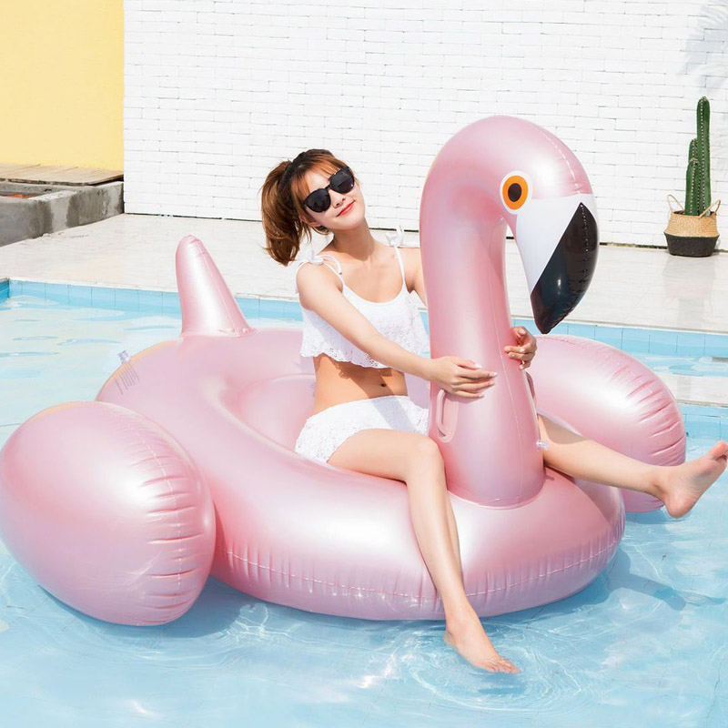 Rose Gold Flamingo Inflatable Floating Island,inflatable Giant Swimming Pool Floats Mattress Toys Festival Party For Adult