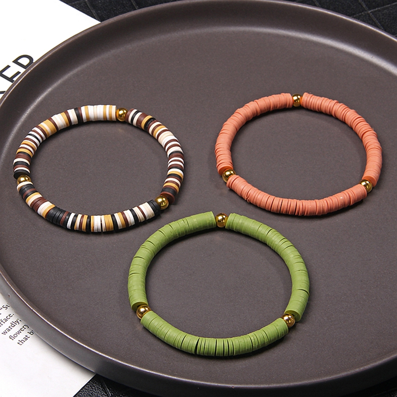 6mm slice em forma de várias cores macio polímero argila pulseira bola de ouro charme bohemia estilo para feminino masculino jóias argile presente