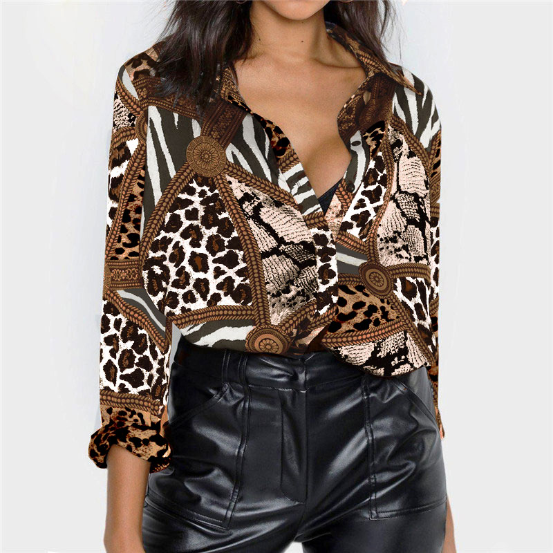 ZOGAA Chiffon Blouse Women 2019 Leopard Snake Chain Print Vintage Blouses Casual Office Shirt Plus Size Ladies Tops Blusas Mujer in Blouses amp Shirts from Women 39 s Clothing