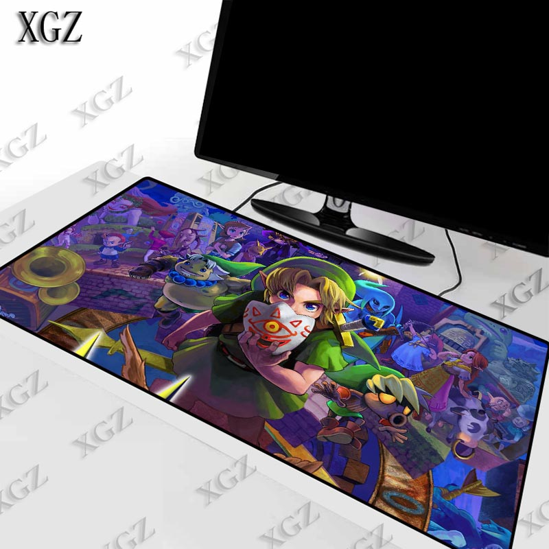 XGZ The Legend of Zelda Large Size Gaming keyboard Mouse Pad PC Computer Gamer Mousepad Desk Mat Locking Edge for CS GO LOL Dota
