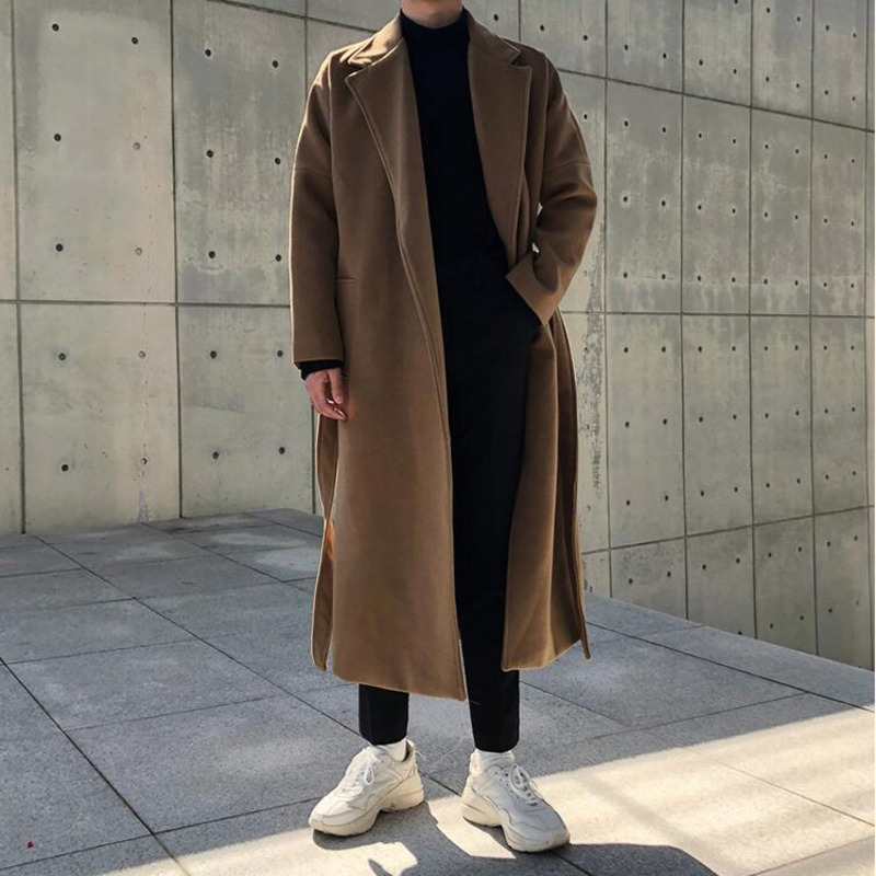 Winter Woolen Coat Men's Fashion Solid Color Oversized Long Woolen Coat Men Streetwear Wild British Style Woolen Jacket Mens