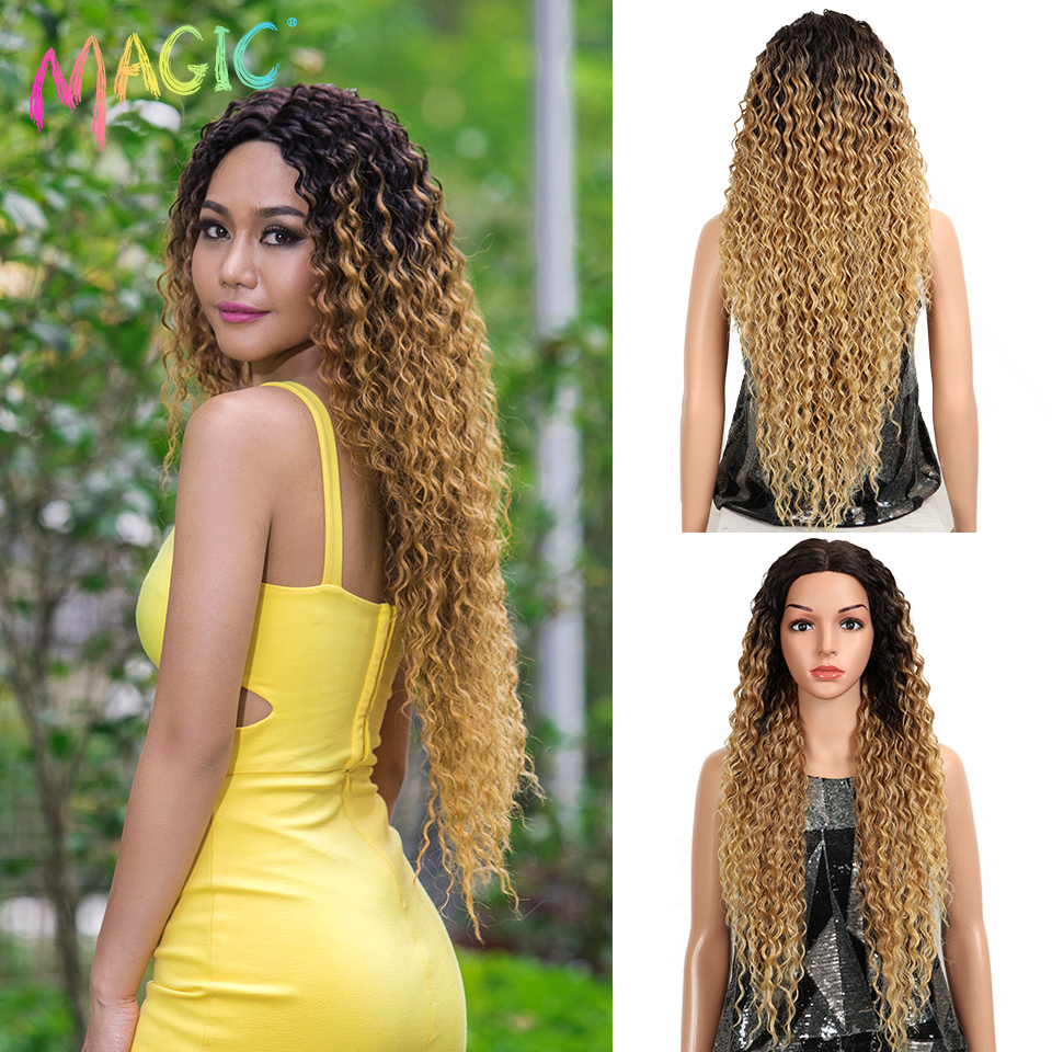 Lace Wigs Hair Blonde Curly Natural-Wave Glueless Kinky Synthetic Black-Women 32inch