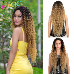 MAGIC Hair Kinky Curly Glueless High Temperature Fiber Hair 32 Inch Natural Wave Blonde Synthetic Lace Wigs For Black Women