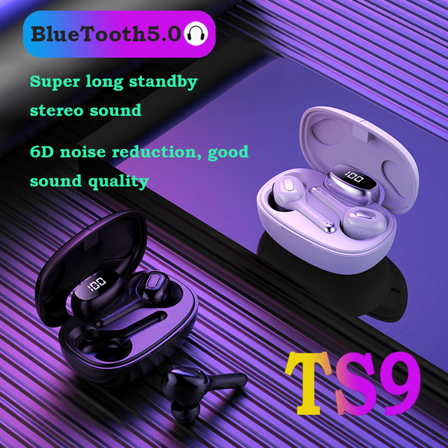 TWS Bluetooth earphones T9S Mini Headset IPX7 Waterproof earbuds Works on all Android iOS smartphones music wireless Headphones