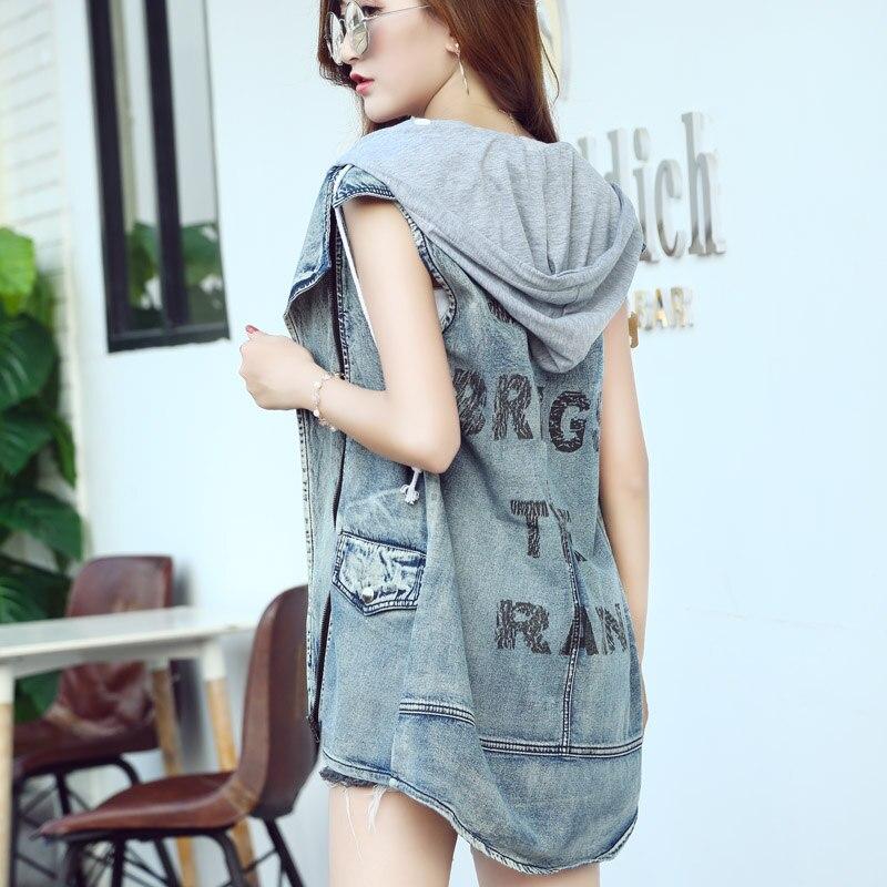 Summer Denim Vest Women Korean Character Printing Sleeveless Turn-down Jean Vest Tops Female Loose Jacket Streetwear