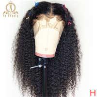 180% wysokiej gęstości Afro perwersyjne kręcone koronki przodu peruki 10-24 ''wstępnie oskubane z dzieckiem włosy 13x6 koronki ludzkie włosy typu remy czarny dla kobiet