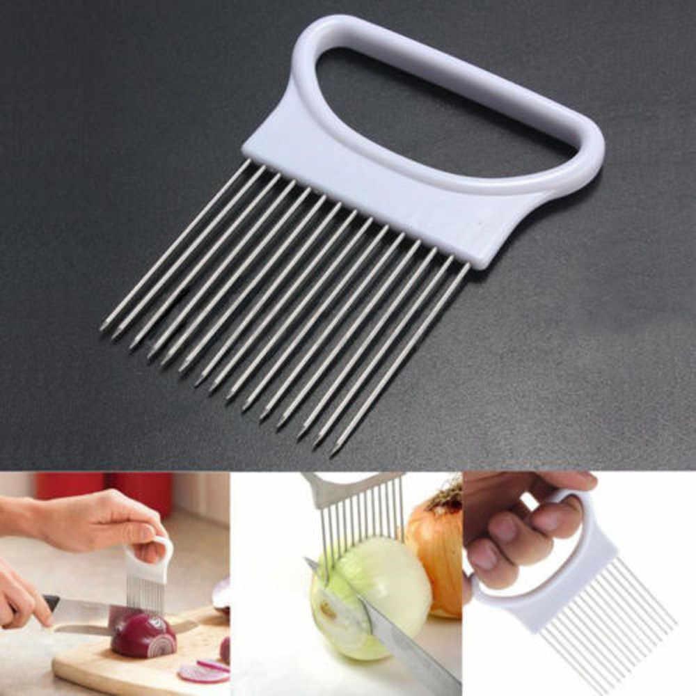 Tomate cebola legumes slicer suporte de ajuda de corte guia cortador garfo seguro faca ondulada acessórios gadgets cozinha