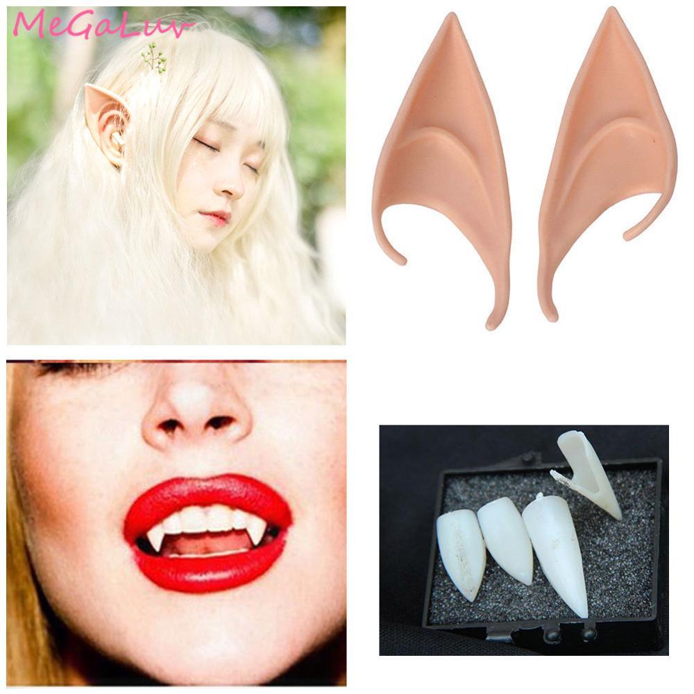 Misterioso Ángel orejas de elfo hadas Cosplay dientes de vampiro Halloween Navidad de látex suave prótesis puntiagudas consejos orejas postizas Accesorios