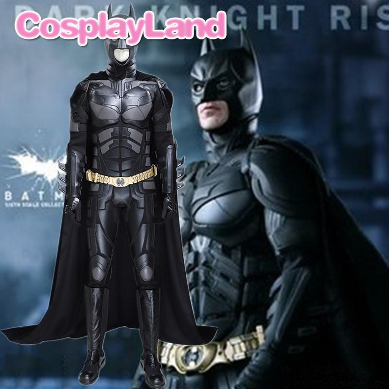 Batman Cosplay Outfit The Dark Knight Rises Costume Batman Bruce Wayne Black Suit Whole Set With Headgear Cape Boots