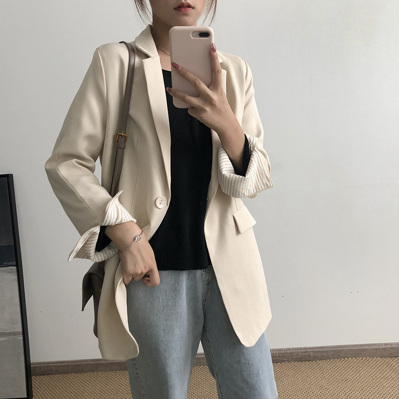 Plus size women's mid-length jacket high quality 2020 new autumn casual loose solid color ladies blazer Trendy little suit