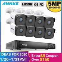 ANNKE 8CH HD 5MP POE red sistema de seguridad de vídeo 8MP H.265 + NVR con 8X5 MP 30m Color visión nocturna a prueba de intemperie WIFI cámara IP